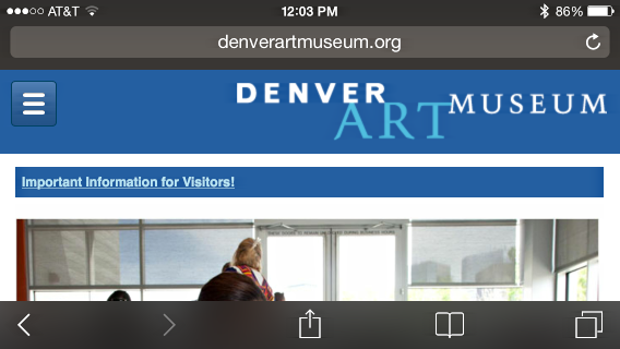 Denver Art Museum web site in iOS 7 Safari browser