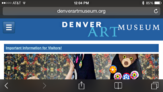 denver art museum on iphone in safari