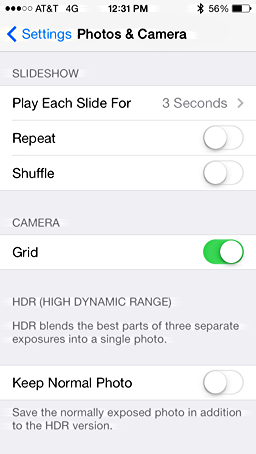 iphone photos preferences settings