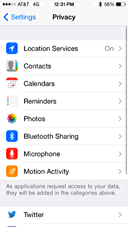 privacy settings and customization iphone 5