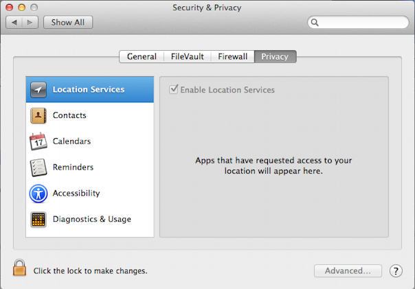 system preferences mac os x security and privacy general