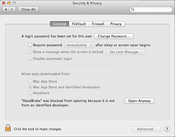 general security settings, mac os x 10.9