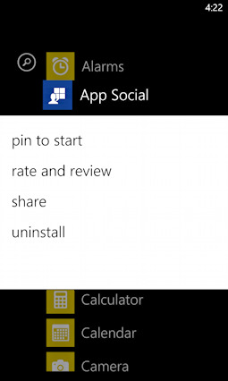windows phone 8 app options menu