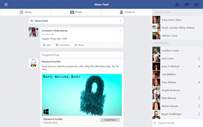 Facebook for tablet