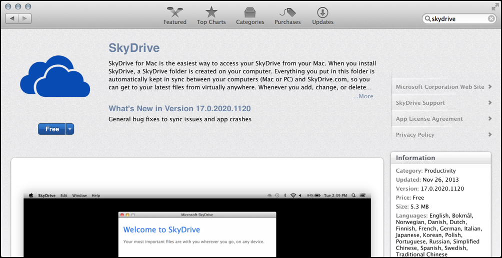 Skydrive app for Mac OS X in App Store
