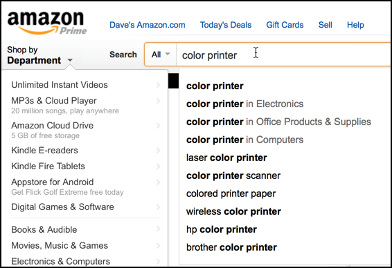 amazon search for color printer