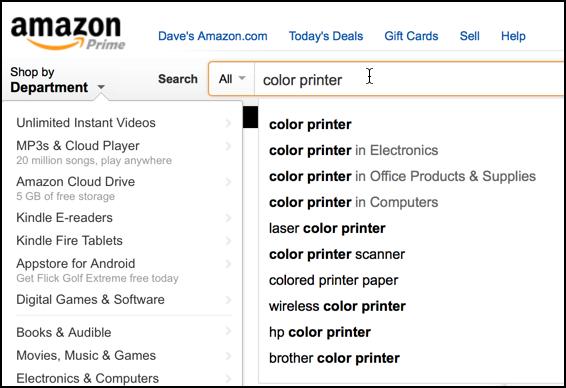 amazon search for color printer