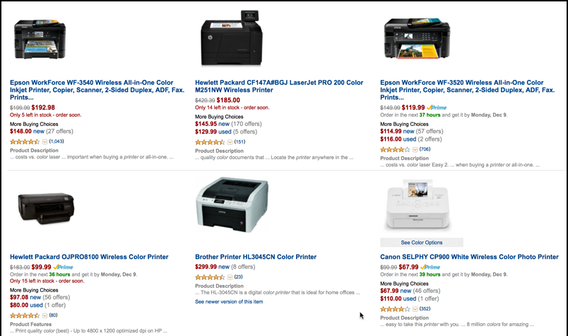 list of possible color printers