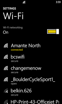connected to wifi (wi-fi) network on nokia lumia 1020 mobile phone