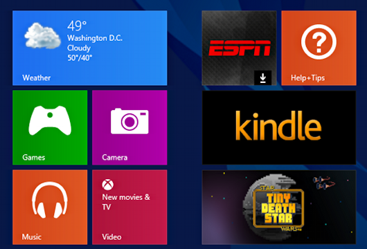 Win8.1 Start Screen w Star Wars: Tiny Death Star tile