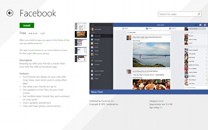 learn more about the win8 tablet facebook app