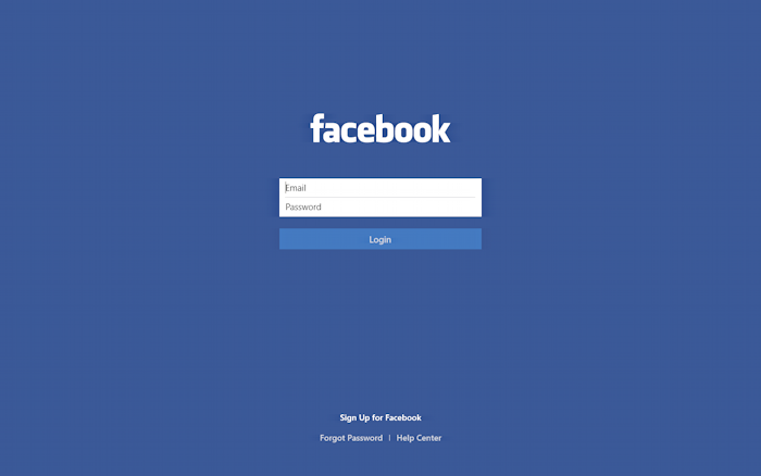 log in to your facebook account