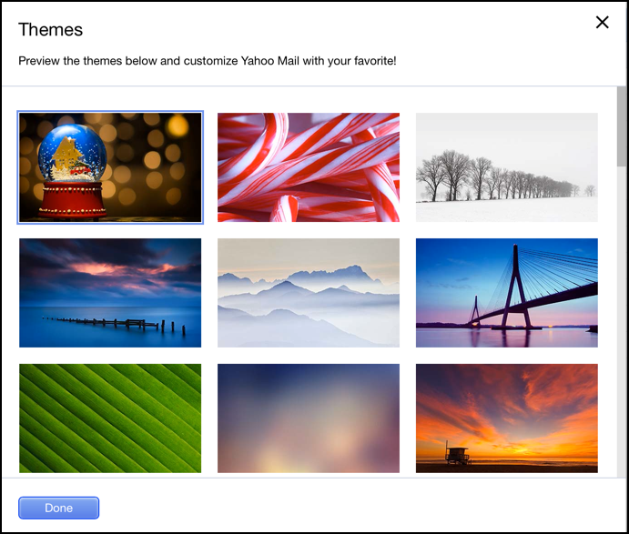 yahoo mail graphic themes appearances customization settings