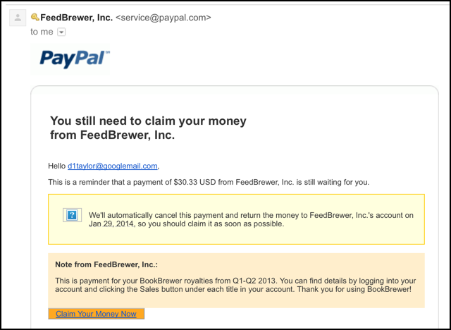 claim your money payment paypal