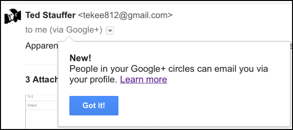 email received in gmail from google+