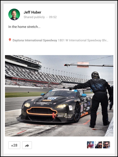 in the pit, daytona international speedway, photo posted to google plus