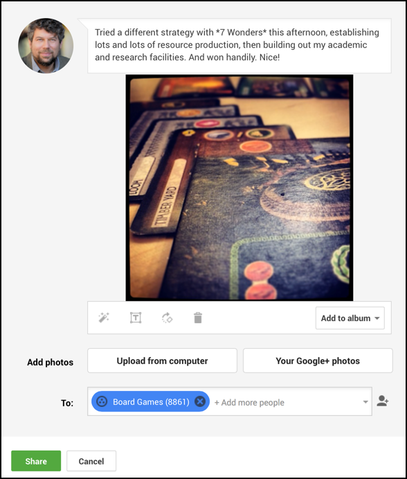 7 Wonders status update for Google Plus group board games