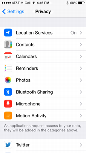 detail of privacy settings ios7