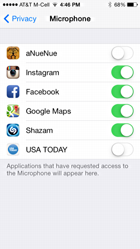 apps requesting access to the iPhone microphone