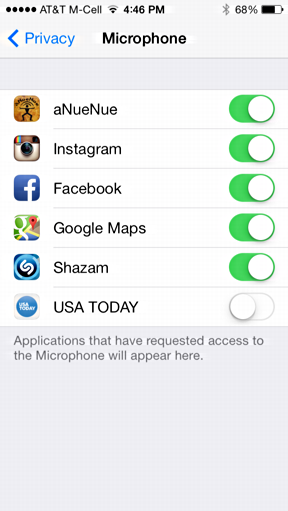 five apps allowed to access mic on iphone / ipad