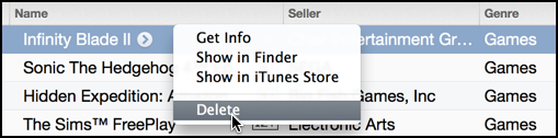 shortcut to delete app from itunes