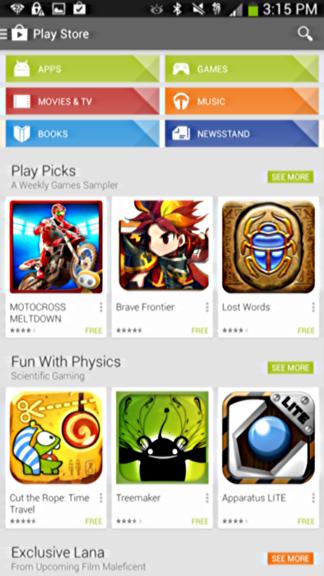google play app home screen