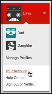 Netflix account menu