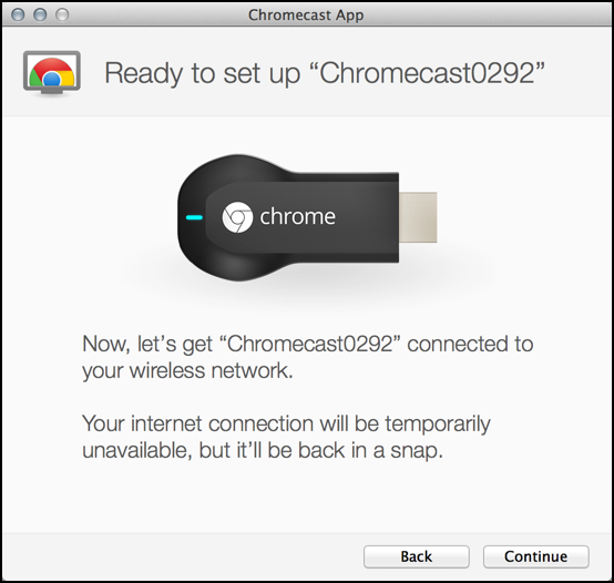 setting up chrome cast on apple system