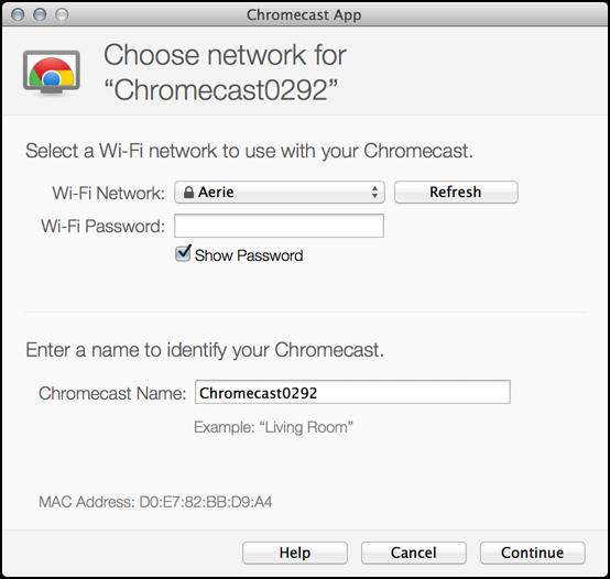 setup wifi on chromecast device