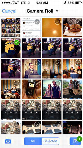 pick photo from iphone camera roll