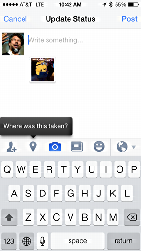 posting photo to facebook fb from ios7