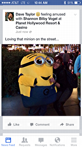 Shannon with minion photo posted, facebook