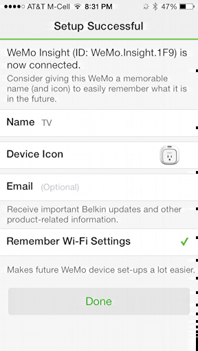 configure device for wemo insight switch