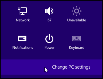 Change PC Settings in Windows 8 Pro