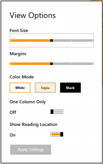 adjust view reading settings kindle app windows 8
