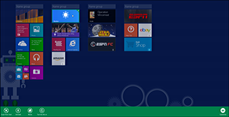 windows 8 home screen with settings bar
