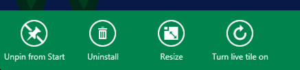 detail of settings bar win8