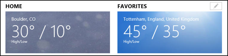 weather for two cities