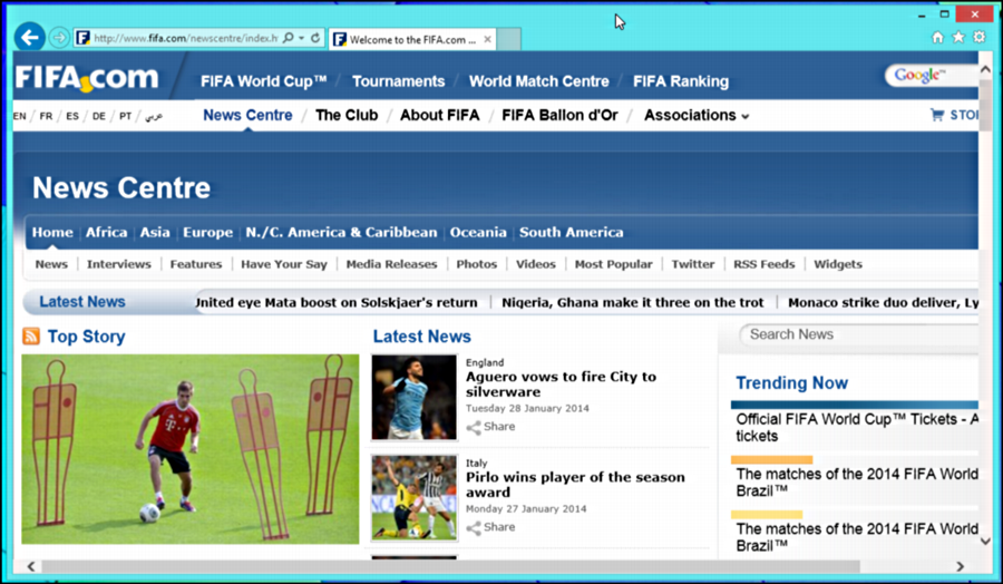 FIFA Web Site in Windows 8 MSIE 11