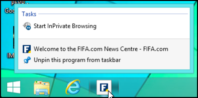 right-click context menu for bookmark on taskbar win8