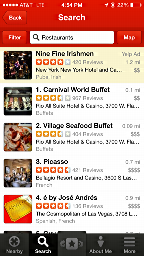 Yelp results sorted filter restaurants las vegas