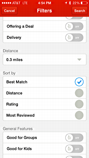 yelp sort restaurants matches by distance nearby location