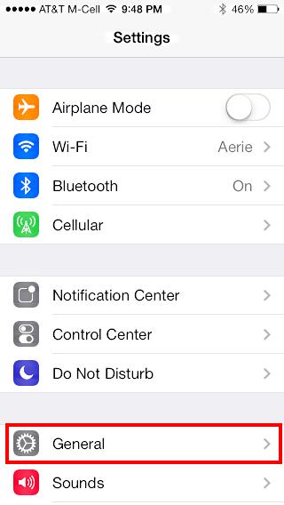 iOS 7 iphone settings General