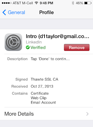 an apportioned email profile in ios7