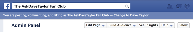 admin options on facebook business fan page