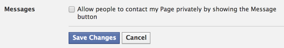 messages settings options for a facebook business page