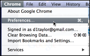 choose preferences from within Google Chrome