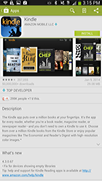 kindle app in google play store