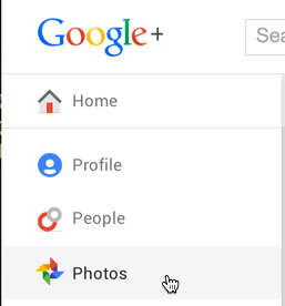 google plus navigational options - photos