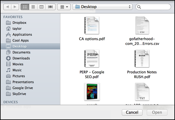open file selection window dialog box mac os x